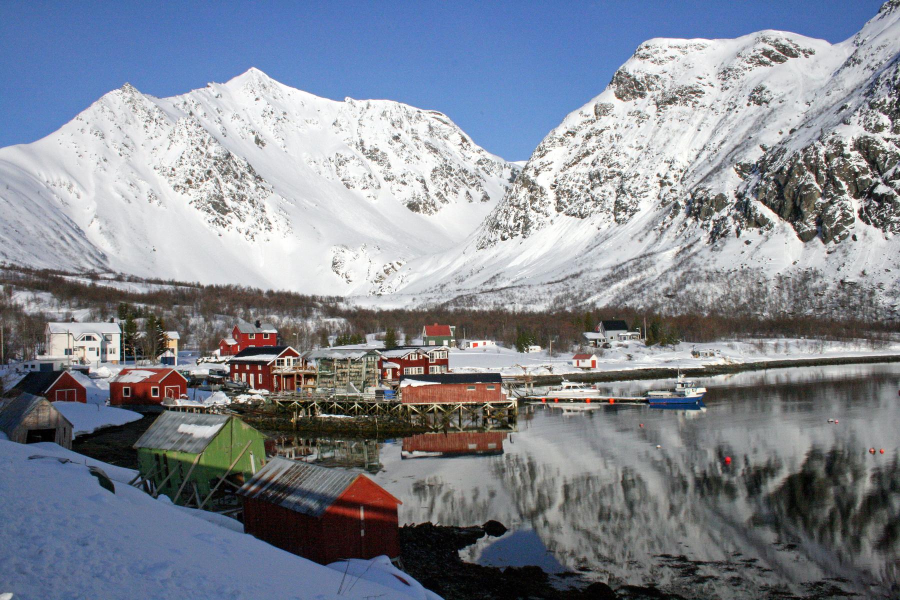 April in Koppangen, on Lyngen Fjord, Norway