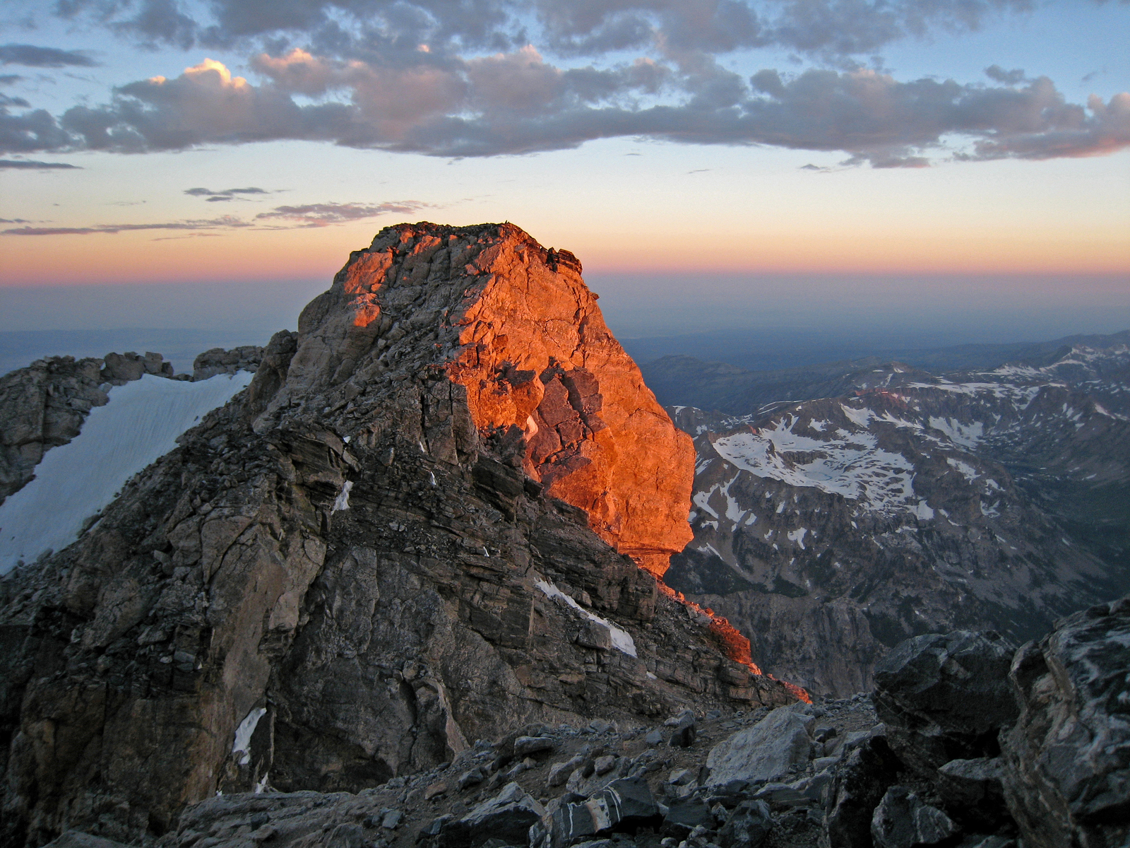 a rocky spur catches first light on the flanks of the Grand Teton, Grand Teton National Park, Wyoming