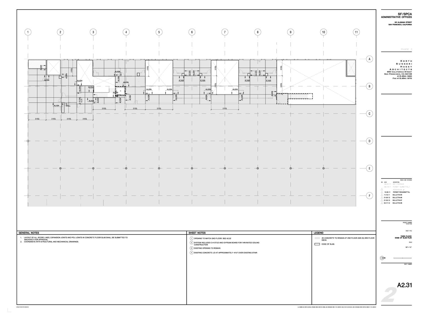 Construction Documents 2nd Floor Edge of Slab Plan