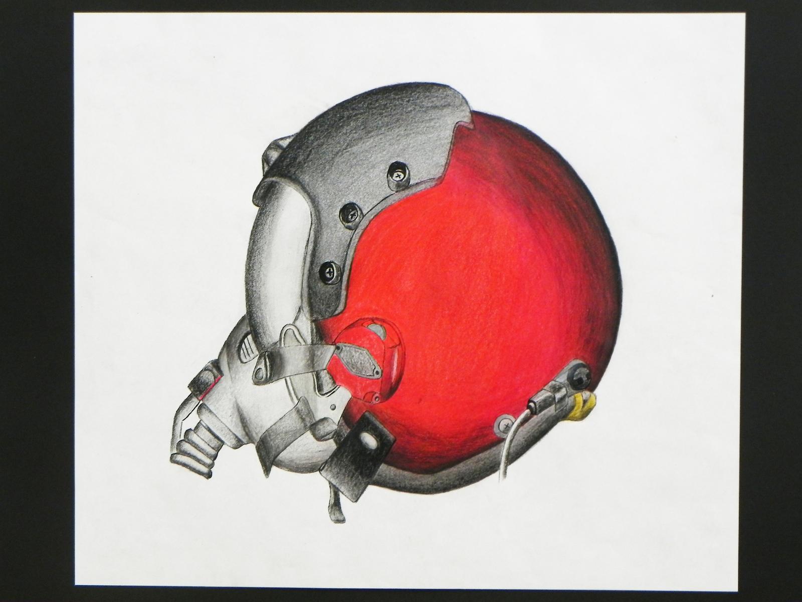 A colour pencil illustration of a fighter jet pilot's custom helmet.